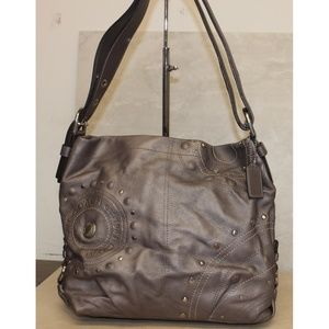 Coach F16178 Graphite Leather Studded Hobo Bag